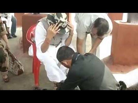 Caught on camera: Army jawan ties Rajnath Singh's shoelaces