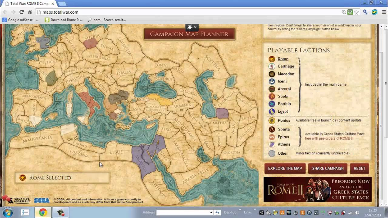 Total War Rome 2 Campaign Map Planner Youtube