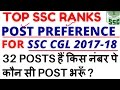 POST PREFERENCE FOR SSC CGL 2017 18 Top Ssc Cgl Posts Rank Wise TOP SSC RANKS IN INDIA mp3