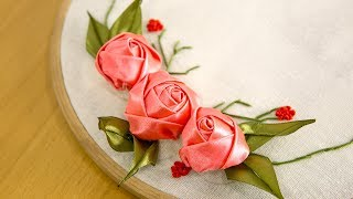 DIY RIBBON ROSE TUTORIAL: EMBROIDERY FLOWERS | ЦВЕТЫ ИЗ ЛЕНТ