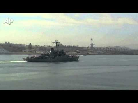 Raw Video: Iranian Ships Sail Suez Canal