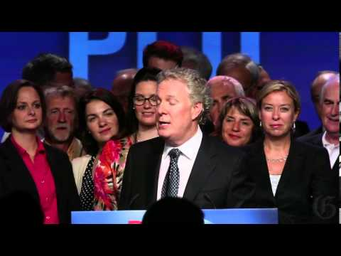 Jean Charest speaks in Sherbrooke, Quebec