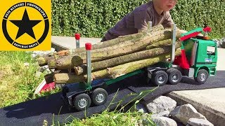 BRUDER TRUCKS best of Bruder Toy Kid (7) Jack playing FIRE ALARM Farm and Timber Work