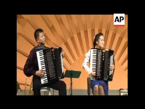 A North Korean accordion group that went viral make a comeback in Pyongyang, North Korea, with a cov