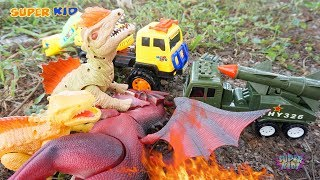 Dinosaurs & Crane Trucks Grow Flowers Together | Dino and Cars For Kids