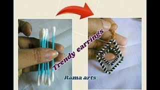 Trendy earrings with ear buds - Making of earrings | jewellery tutorials