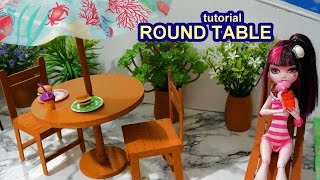 How to make a doll round table with parasol (sunshade) - miniature crafts DIY