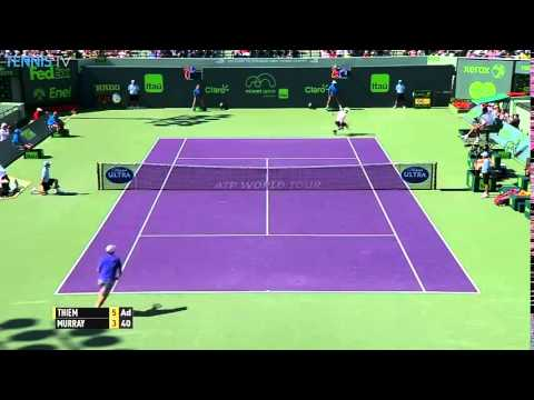 Stunning Dominic Thiem backhand v Andy Murray in 2015 Miami Open QF