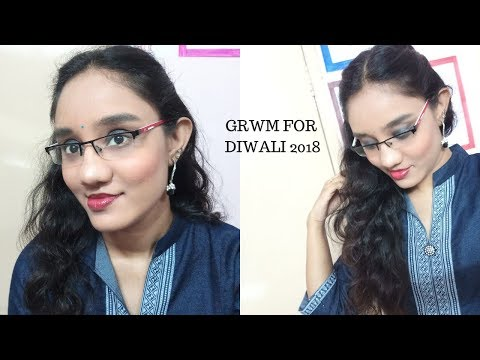 Telugu vlogs:Diwali glam makeup and hair tutorial 2018 in Telugu#GRWM for Diwali-Diwali hairstyle
