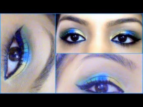 Indian Festival Makeup For Shri Krishna Janmasthami Gold Blue Green Eyes Makeup Tutorial