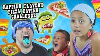BLINDFOLD PIZZA PLAYDOH CHALLENGE w/ RAPPING & EATING!?!?  It Tastes So Like Totally Yucky!