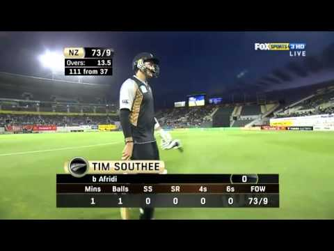 Boom Boom And Greet Shahid Afridi 134km H Fastest Spinner Ball V New Zealand, 3rd T20 2010 11.flv video