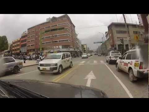 Driving through downtown Huancayo, Peru