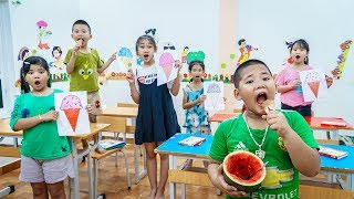 Kids Go To School   Cheerful Lesson Of Chuns And Friends Sister Buys Cake And Treats