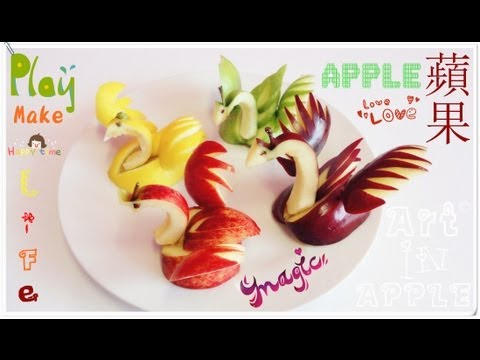 Art In Apples Show - Fruit Carving Apple Swan - Fruit Decoration