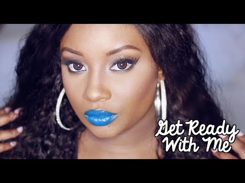 Get Ready with Me   Neutral Eyes + Funky Blue lips! (Makeup)