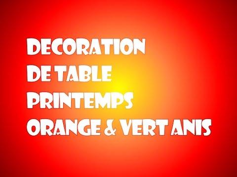 Idée de décoration de Table – Orange et Vert Anis – Thème Printemps & Pâques