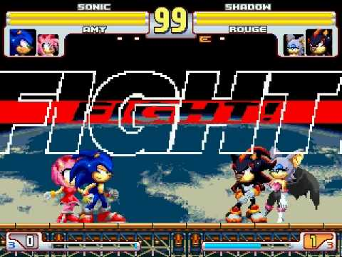 Sonic and Amy vs Shadow and Rouge MUGEN Battle!!! (MUGENHUNTER)