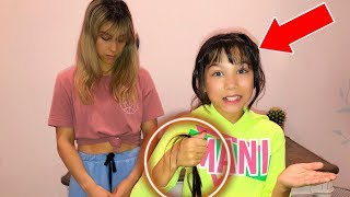 CUTTING MY HAIR BEHIND MY MOMS BACK!!