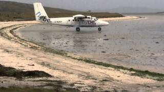 Loganair Twin Otter take off at Barra