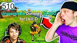 DONATING $1,000 IF THIS KID GETS 1 FORTNITE KILL!