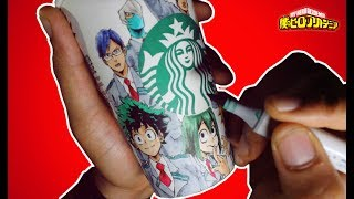 Drawing MY HERO ACADEMIA on a STARBUCKS CUP!!! Class 1-A Students