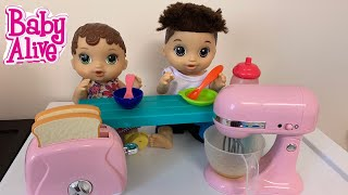 Baby Alive Abby Morning Routine cooking in new kitchen playset