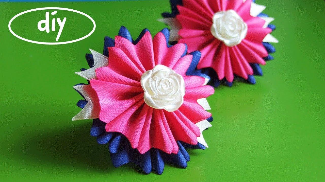 Цветы из лент 1 см канзаши мастер класс