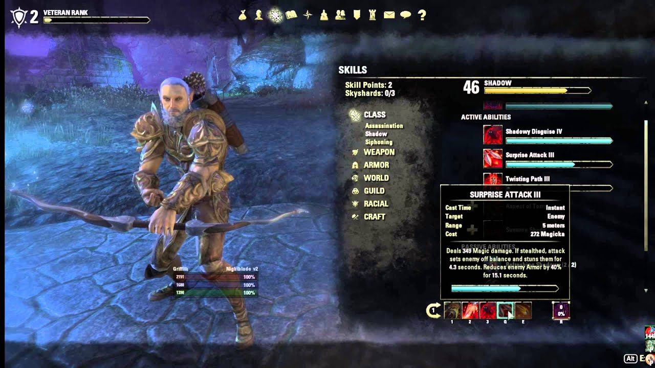Eso Nightblade Wood Elf Build