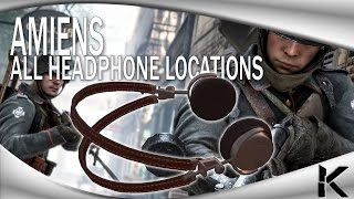 Battlefield 1 - ALL HEADPHONE LOCATIONS! - AMIENS (Easter Egg Hunt) - Old Locations