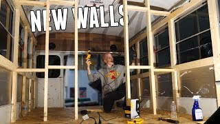 Building NEW WALLS in the Adventure Bus!