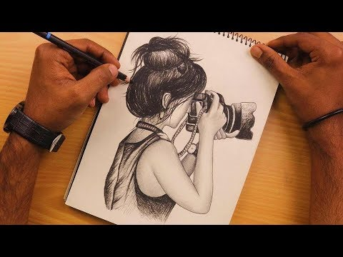 Play this video How to Draw a Girl is holding the camera with pencil sketch  Learn to Draw  Sketching Video