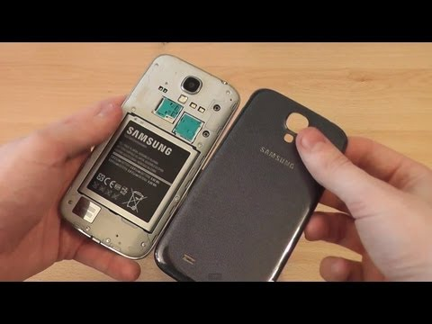 How to Open Samsung Galaxy S4 Back Cover - Insert Battery. SIM