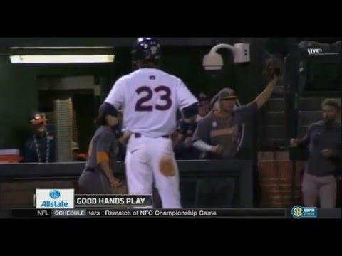 Tennessee Baseball - Nick Senzel Foul Ball Catch vs. Auburn (4.15.16)