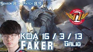 SKT T1 Faker GALIO vs AHRI Mid - Patch 8.9 KR Ranked