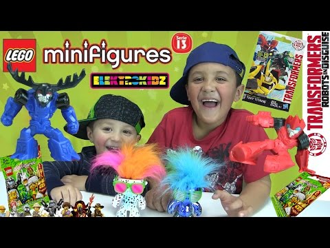 Boys Will Be Boys! Opening 8 Lego & Transformers Minifigures Blind Bags + 2 Elektrokidz! Dance Party video