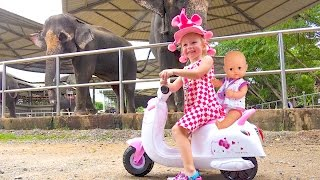 Bad Baby rides and plays at the zoo Funny video for kids