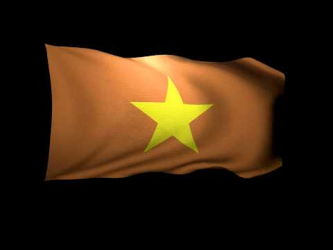 3D Rendering of the flag of Vietnam waving in the wind.