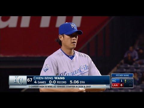 20160425 (20160426 TW) MLB KC@LAA Chien-Ming Wang in 8th 王建民第八局登板 720P HD