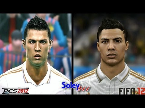 FIFA 12 vs PES 2012 Barcelona & Real Madrid faces comparison !!