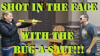 SHOT IN THE FACE WITH A BUG-A-SALT!!! REALLY FUNNY REACTION!