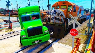 COLORFUL Truck in Trouble with Trains - Color CARS vs TRAIN
