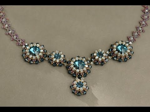 Sidonia s handmade jewelry - Blue Roses Necklace - Swarovski Necklace P1