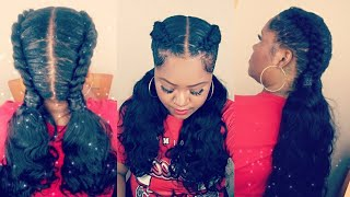Stitch Feed In Braids and Invisible Ponytails | AliExpress Luvin Hair Brazilian Body Wave