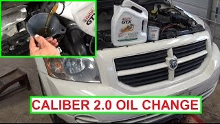 Dodge Caliber Oil Change 2.0 Engine.  How to change the oil on Dodge Caliber