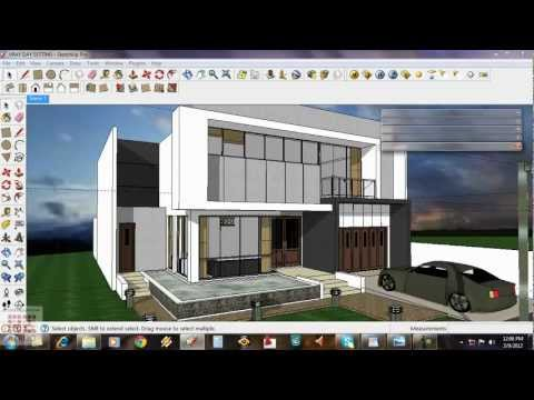Google Sketchup-Tutorial 15-Daytime Vray exterior Setting