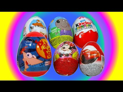 6 Huevos Sorpresa de Phineas and Ferb. Minnie Mouse. Cars. Planes. Peppa Pig y Kinder Sorpresa
