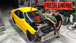 Pt.10| LAMBO KILLER BUILD | 600HP AWD TURBO HONDA CIVIC | SWAPPING IN A FRESH ENGINE!