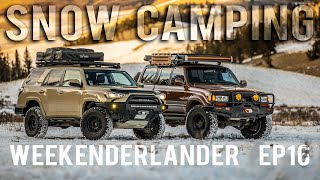 SNOW CAMPING 4Runner and Land Cruiser Bonfire in the cold  - WEEKENDERLANDER EP 16 - Winter Overland