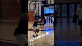 Giannis and a Kyle Korver working out together in California